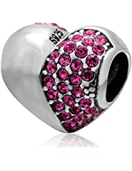 Choruslove Rose Crystal Valentine Heart Charm 925 Sterling Silver Bead For European Bracelet