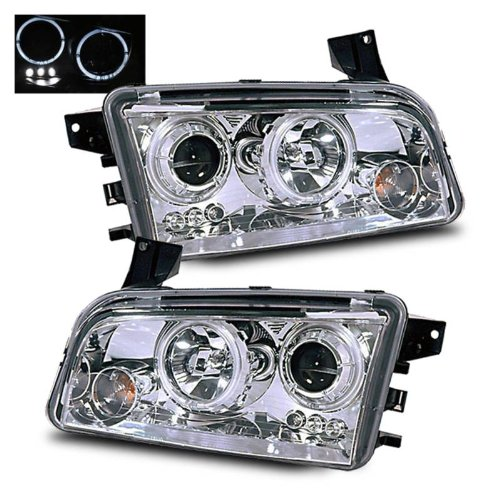 SPPC Projector Headlights Halo Chrome For Dodge Charger - (Pair) (Halo Headlights Dodge Charger compare prices)