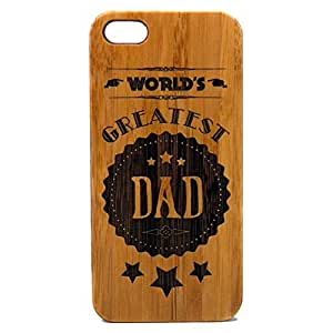 World's Greatest Dad iPhone SE iPhone 5 or iPhone 5S Case Cover. Father's Day Gift on Eco-Friendly Bamboo Wood. Rustic Dads Daddy Man Men Husband.