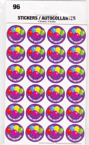 96 Happy Birthday Stickers 4 Sheets