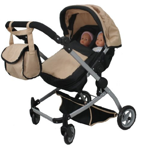 Babyboo Sand Deluxe Twin Doll Pram/Stroller With Swiveling Wheels (Color Sand & Black) With Free Carriage (Multi Function View All Photos) - 9651Asand front-286040