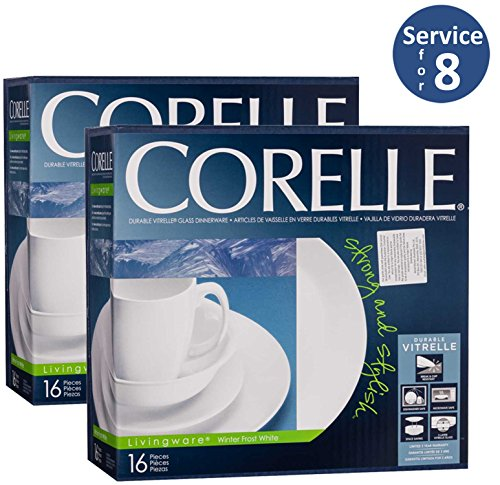 Corelle Livingware 32-Piece Dinnerware Set, Winter Frost White, Service For 8 (32 Piece Corelle Dinnerware Set compare prices)