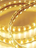 CBConcept® 120VSMD5050-4M-WW 13 Feet Warm White 120 Volt High Output LED SMD5050 Flexible Flat LED Strip Rope Light - [Christmas Lighting - Indoor Outdoor rope lighting - Ceiling Light - kitchen Lighting] [Dimmable] [Ready to use] [7 16 Inch Width X 5 16 Inch Thickness]