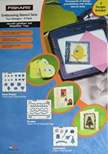 Fiskars Embossing Stencil Set - Fun Designs - 3 Pack - Basic Shapes - Borders - Celebration
