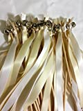 Divinity Braid 100 Wedding Wand Bell Ribbon Streamers in Send Off Bells Ribbon Wands Bell Wands Wedding Wands, White/Ivory