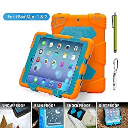 Ipad Mini Cases, Aceguarder [New Hot] Outdoor Silicone Products Ipad Case for Ipad Mini . Water-proof Shock-proof Rain-proof Dirt-proof Cover Case with Ipad Mini 1,ipad Mini 2, Ipad Mini 3 .(Gifts Outdoor Carabiner + Whistle