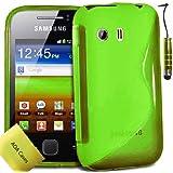 TPU Silikon Case Tasche Hülle Für Samsung Galaxy Y S5360 Etui Schutzhülle Schutzfolie, Reinigungstuch, Mini Eingabestift AOA CasesTM (Grün)