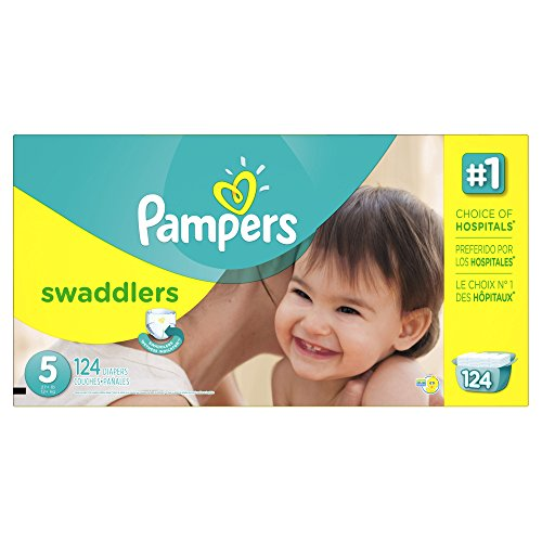 Pampers Swaddlers Diapers Size 5 Economy Pack Plus 124 Count