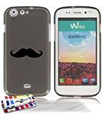 Muzzano 1183916 Coque souple ultra fine Gris Motif Moustache + Pack de 3 Films de Protection d'�cran ultraclear pour Wiko Stairway