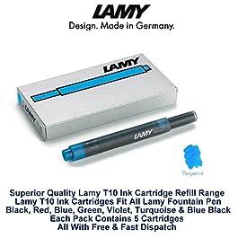 Lamy T10 Turquoise cartouches d'encre pour stylo-plume de rechange pour toutes les recharges Lamy Fountian Lot de stylos 10-50 cartouches d'encre)