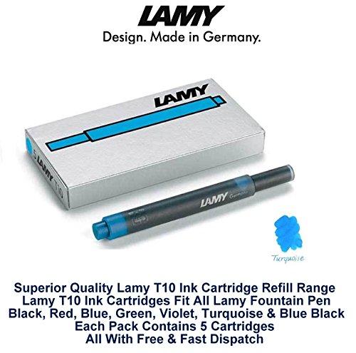 Lamy T10 Turquoise cartouches d'encre pour stylo-plume de rechange pour toutes les recharges Lamy Fountian Lot de stylos 20-100 cartouches d'encre)