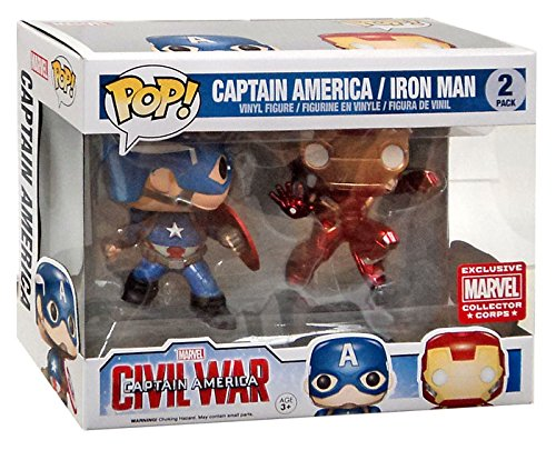 Funko - Figurine Captain America - Civil War - Pack Captain America et Iron Man Exclu Pop 10cm - 3700936108135