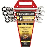 GEARWRENCH 4 Pc. 12 Point Flex Head Ratcheting Combination SAE Wrench Completer Set - 9703 (Color: Chrome)
