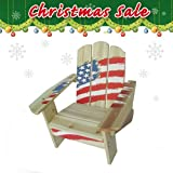 Christmas sale - Kids Outdoor Chair 20131 - American Flag, Dual Non-toxic Clear Painted Fir, Free Drawing Book