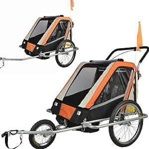 Jogger Remorque à Vélo 2 en 1, pour enfants + Amortisseur 503-03 Orange/Noir/Gris