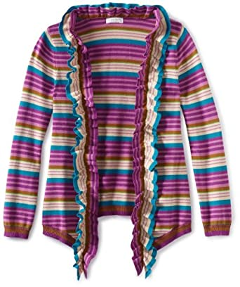 Kc Parker Girls 7-16 Long Sleeve Waterfall Cardigan Sweater, Purple Stripe, 7-8