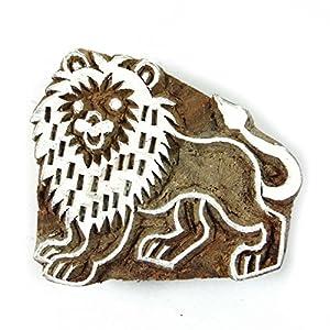 Main décoratif sculpté impression de blocs en bois lion Textile Timbre de frontière