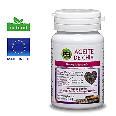 Chia oil capsules, 30 Chia seed capsules for normal cholesterol, blood pressure and sugar levels, 100% natural chia seed extract with Omega 3, 6 and 9, suitable for vegans & gluten-free