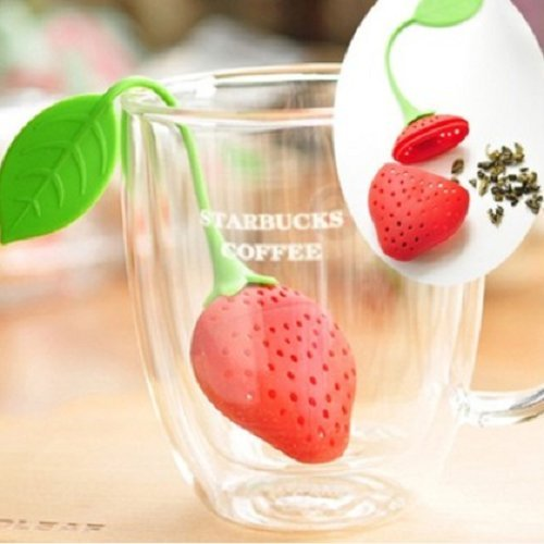 Udtee 2Pcs Beautiful And Cute/Lovely/Adorable/ Fantastic Silicone Strawberry Shape/Design Tea/Teapot/Teacup Infuser/Strainer,Red Color