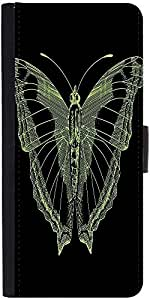 Snoogg Bright Butterfly On Black Bacground Graphic Snap On Hard Back Leather ...