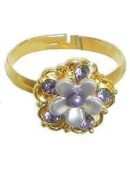 Light Mauve Stone Studded Adjustable Ring - Stone And Metal