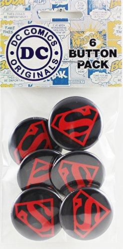 "Button set DC Comics Originals Superman Logo 6 Individual Loose Buttons, 1.25"", Black - 1"