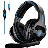 Sades Over-Ear Stereo Bass Gaming Headphone with Noise Isolation Microphone for Xbox One PC PS4 Laptop Phone (Color: Black And Blue)