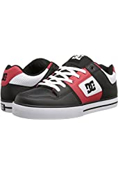 DC Pure Black Red White Leather Mens Skate Trainers Shoes Boots