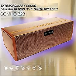 SRB Royall Gold High Quality Dual Channel SOMHO S323 Speaker with Bluetooth, NFC, FM, microsd Slot, aux in Supported Devices Universal Smartphones OnePlus X Nokia N1 Pad, Macbook, Letv Smartphone(1pc), Apple New Macbook 12 inch, OnePlus Two, Google Nexus 5X, Nexus 6P, Pixel C Google Nexus Oppo. (Gold)