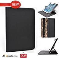 [Revolving Accord] LEOPARD & BLACK | 360 Degree Rotating Book Folio Stand Cover | Universal 9-inch Tablet Case fits Visual Land Connect 9 by Kroo
