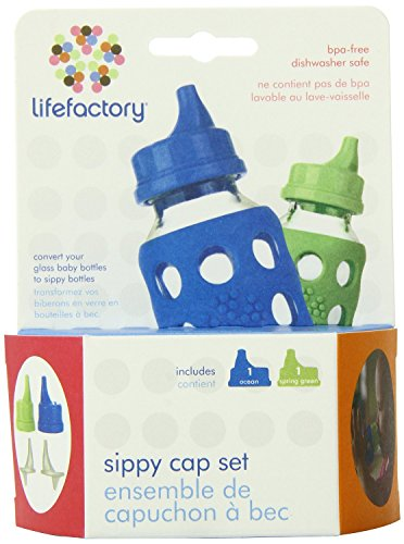 Lifefactory Sippy Caps for 4 & 9-ounce Glass Bottles, 2-pack, Ocean/Spring Green