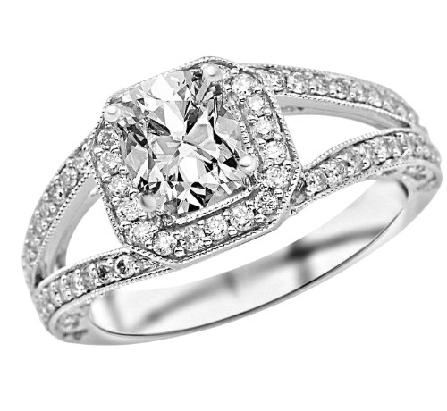 1.47 Carat Square Halo Split Shank With Milgrain Diamond Engagement Ring (E Color, Si2 Clarity)