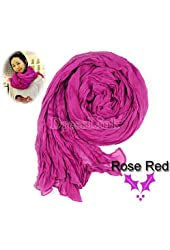 Rose Red Women's Long Crinkle Scarf Wraps