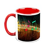 HomeSoGood Sparkling Musical Notes White Ceramic Coffee Mug - 325 Ml