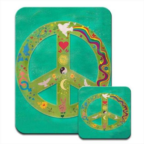 Nirvana, motivo: simboli della pace, motivo: Love & Tappetino per mouse e sottobicchiere
