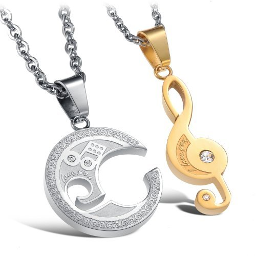 JBG Jewelry Fashion Stainless Steel Couple Necklaces Inlaid Crystal Personalized Gold Musical Note And Silver Circle Puzzle Chain Necklets For Lovers Gift