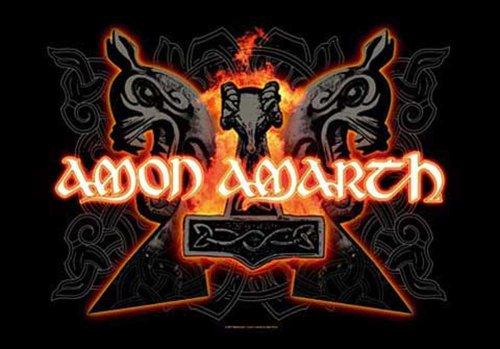Amon Amarth-Hammers-Bandiera Poster 100% poliestere-dimensioni 75x 110cm