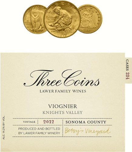 2012 Lawer Family Three Coins Viognier Knight'S Valley 750 Ml