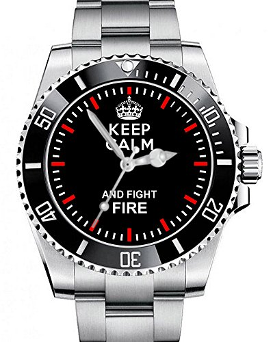 Keep calm and fight Fire - Armbanduhr - Feuerwehr Uhr 1289