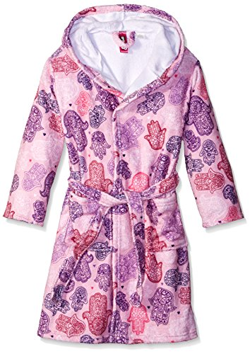 Up Past 8 Big Girls' Fuzzy Hooded Robe, Hamsa Hands, Large/8/10
