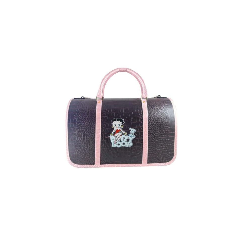 Betty Boop & Pudgy Blue Deluxe Dog Pet Carrier   Brown Crocodile Pattern
