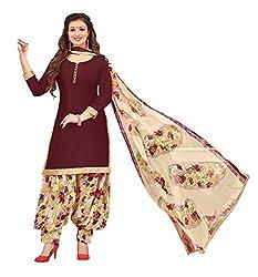 Vidhya LifeStyle Women's Glaze Cotton Patialas Unstitched Dress Material(Wine)