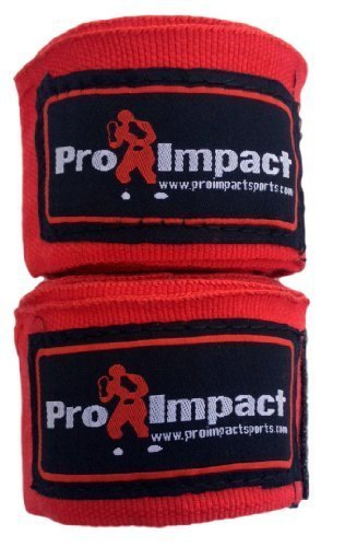 "PRO IMPACT Boxing/MMA Handwraps 180"" Mexican Style Elastic RED"