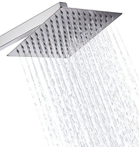 Eyekepper Stainless Steel Shower Head - Rain Style Showerhead, Waterfall Effect, Elegantly Designed, High Polish Chrome, 8-inch Diameter, Ultra Thin, teflon tape included (Shower Head Square compare prices)