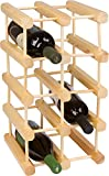 Wine Rack - Holds 12 Bottles Made From Natural Bamboo By KitchenInspirations (Natural, Square)