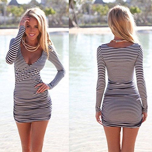 Czluo Sexy Women Summer Striped Bodycon Bandage Slim Evening Party Cocktail Mini Dress multi-color M