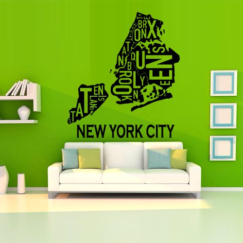 Wall Decal Decor Decals Art Sticker Ny City Map New York America Mural Inscription Letter Word Bedroom (M1238) front-537504