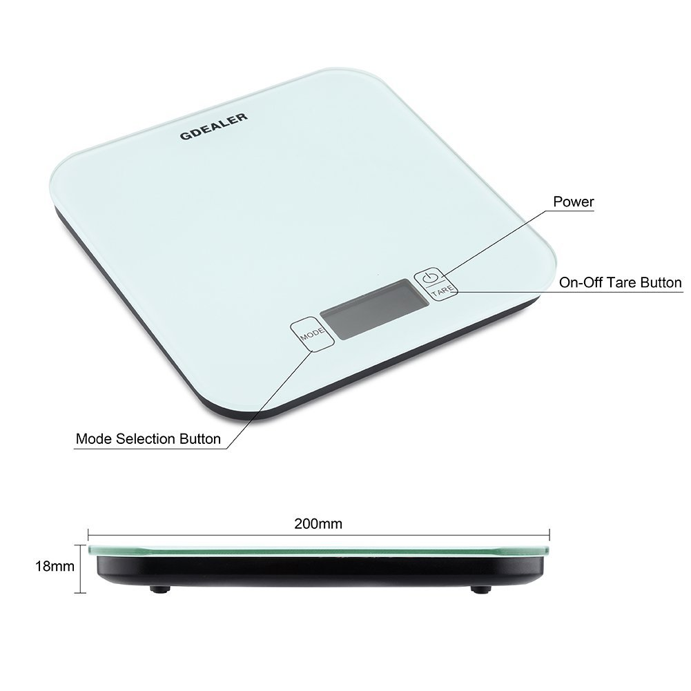 GDEALER Kitchen Scale 22lb/10kg Digital Kitchen Food Scale, Tempered Glass Surface Touch Screen, High Precision, Tare, White Backlit Display, Smart Weigh