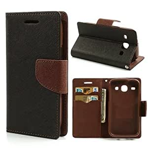 Online Street Wallet Style Flip Cover For Samsung Galaxy J1 - (Black & Brown)