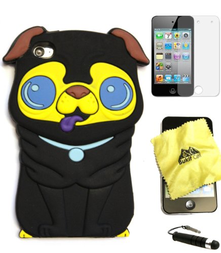 Bukit Cell ® BLACK 3D Dog Soft Silicone Skin Case Cover for iPod Touch 4 4G 4th Generation + BUKIT CELL Trademark Lint Cleaning Cloth + Screen Protector + METALLIC Touch Screen STYLUS PEN with Anti Dust Plug [bundle - 4 items: case, cloth, stylus pen and screen protector]